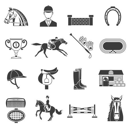 carreras de caballos: Los iconos negros fijaron en fondo blanco con accesorios para montar a caballo y el deporte ecuestre ilustraci�n vectorial aislado.