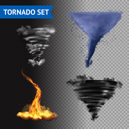hurricane: Set of 4 cloud water fire and lightning tornados on transparent background 3d isolated vector illustration