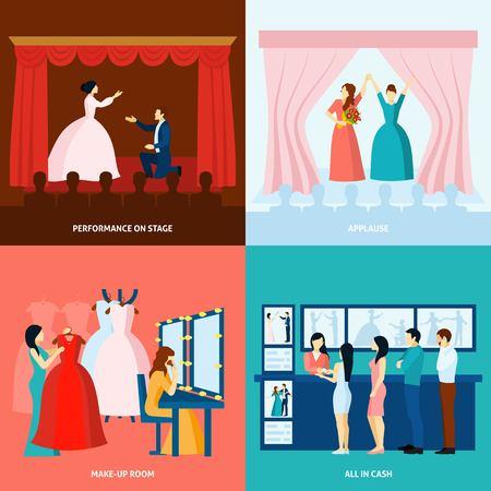 teatro: Obra de teatro que se aprueba el aplauso y los boletos en la puerta 4 iconos planos Bandera cuadrada ilustración abstracta