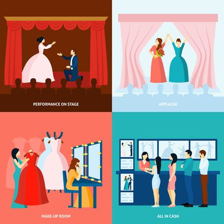 theater curtain: Theater performance approving applause and tickets at the door 4 flat icons square banner abstract vector illustration Illustration