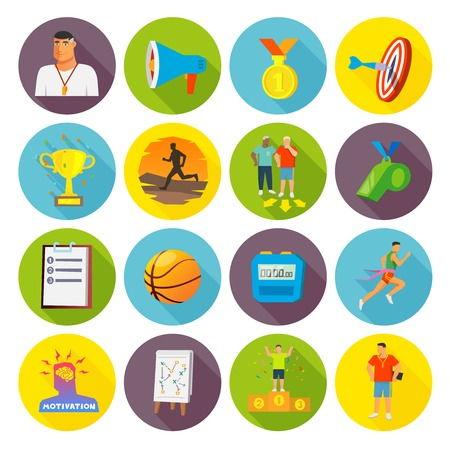 cronometro: Entrenamiento iconos del deporte plana fija con el trofeo cronómetro y silbar aislado ilustración vectorial