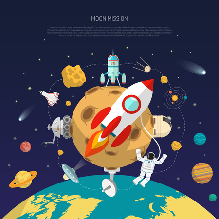 Space mission concept with moon earth and research satellites flat vector illustration
