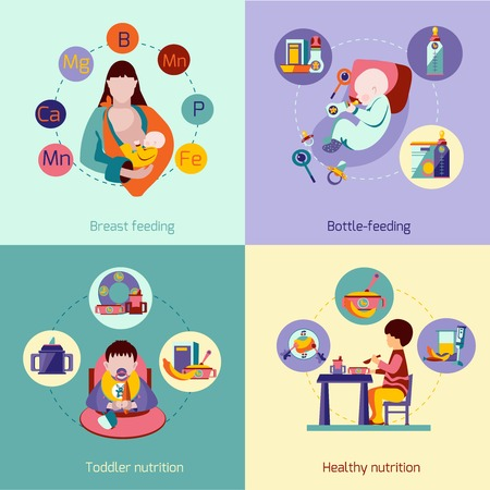 breast: Baby nutrition design concept set with breast feeding flat icons isolated vector illustration