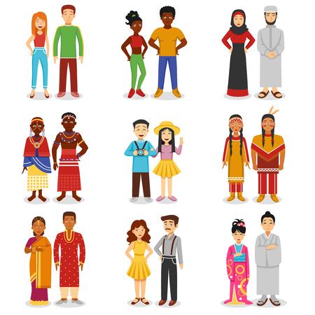 simbolo uomo donna: Icone coppie nazionali istituiti con le persone asiatiche e africane europee piatta illustrazione vettoriale isolato