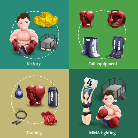 grappling: Mma fighting training full equipment and champion 4 3d icons square composition banner abstract isolated vector illustration