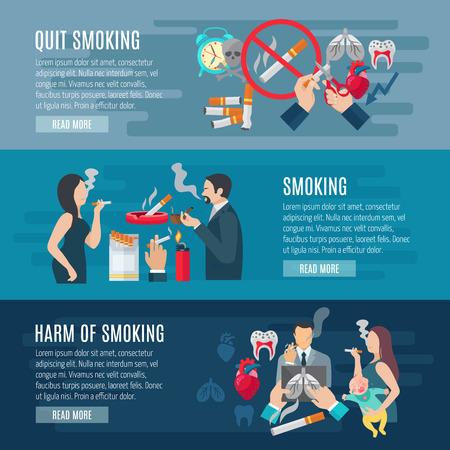 fumando: Banner horizontal de fumadores conjunto con elementos de peligro nicotina aislado ilustración vectorial