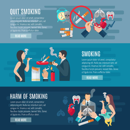 smoke: Smoking horizontal banner set with nicotine danger elements isolated vector illustration