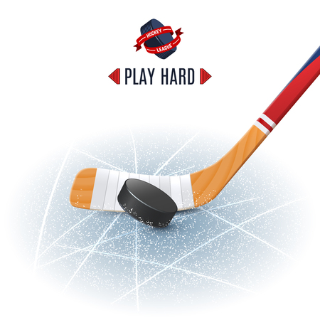wooden stick: Ice hockey sport poster with wooden stick and puck realistic vector illustration