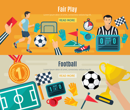 football shoe: Soccer horizontal banner set with fair football play elements isolated vector illustration