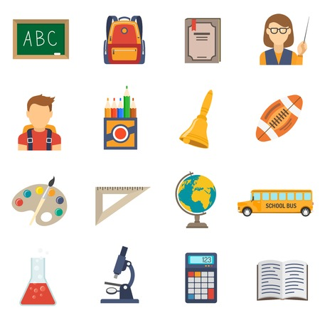 telephone book: School education flat icons set with chalkboard backpack and textbook isolated vector illustration