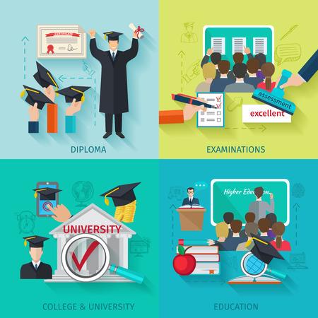 oktatás: A felsőoktatási tervezési koncepció készlet lapos oklevelet és a vizsga ikonok elszigetelt vektoros illusztráció Illusztráció