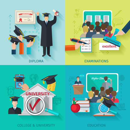 education: Szkolnictwo wyższe koncepcja zestaw z płaskimi dyplomowej i egzaminu ikony wyizolowanych ilustracji wektorowych