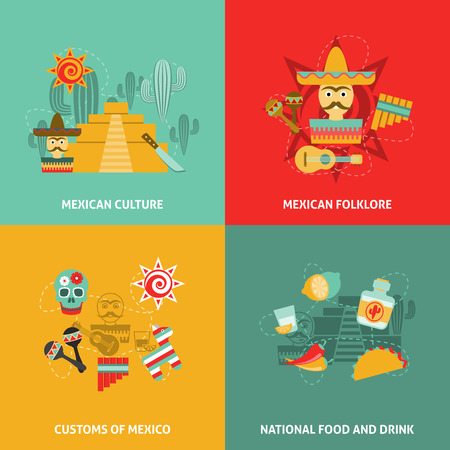 specialities: Mexican icons set with culture customs folklore and food symbols flat isolated vector illustration