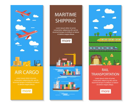 Logistics and delivery vertical banners set with air cargo maritime shipping and rail transportation symbols flat isolated vector illustration