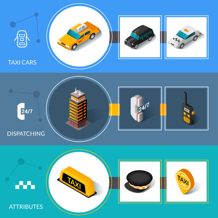 informative: Taxi car attributes and 24 hours dispatching service informative isometric pictograms banners set abstract isolated vector illustration Illustration