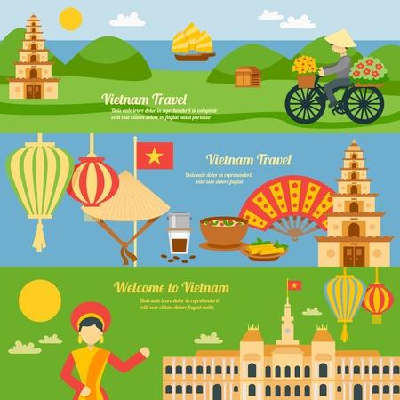 vietnam flag: Vietnam horizontal banner set with flat travel elements isolated vector illustration