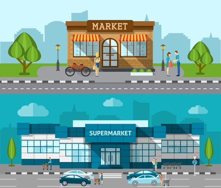 office window view: Shop market and supermarket buildings flat horizontal banner set isolated vector illustration