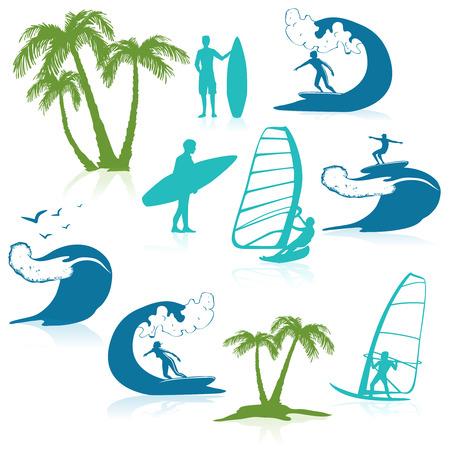 siervo: Navegar en los iconos con las siluetas de la gente en la ilustración del vector de onda y palmeras aisladas