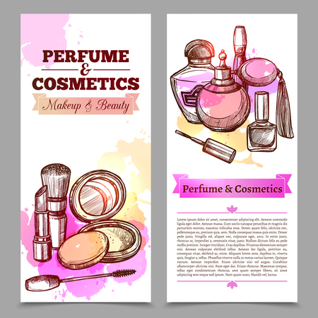 make up products: Vertical banners like perfume and cosmetics advertising booklet with text and hand drawn elements isolated vector illustration Illustration