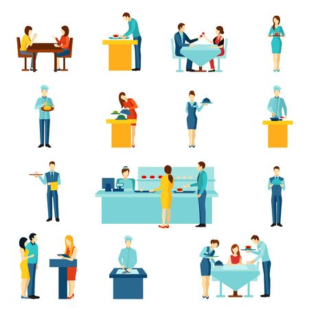 comiendo: Catering toma restaurante para eventos p�blicos y �rdenes de casas iconos planos conjunto abstracto aislado ilustraci�n vectorial Vectores