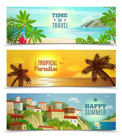 clima tropical: Banderas horizontales de vacaciones de verano establecen con playa tropical reflexi�n del agua puesta de sol del oc�ano plano abstracto vector ilustraci�n aislada Vectores