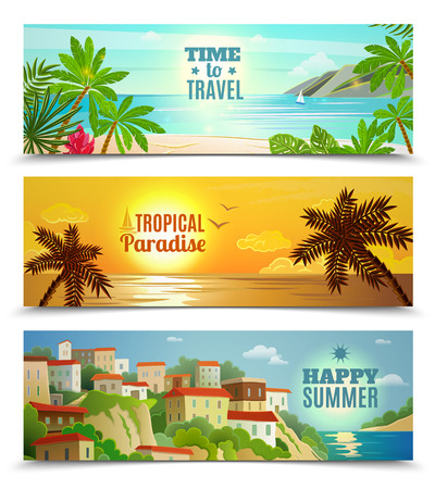 sunset beach: Summer vacation horizontal banners set with tropical beach sunset ocean water reflection  flat abstract vector isolated illustration
