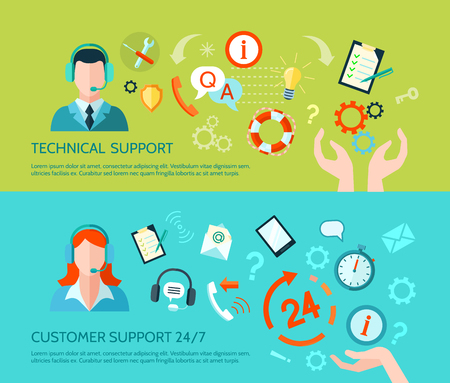 business support: Comprehensive technical assistance and round the clock customer support flat style horizontal banners isolated vector illustration Illustration