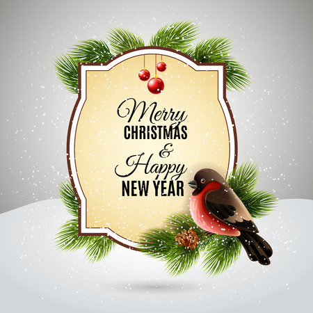 pine decoration: Christmas decoration element for new year greetings postcard with redbreast on pine tree brunch abstract vector illustration