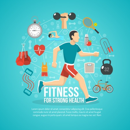 exercise equipment: Fitness concept with running man and sports equipment vector illustration