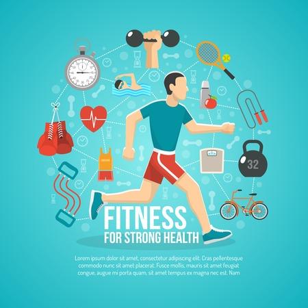motion: Fitness koncept med rinnande man och sportutrustning vektor