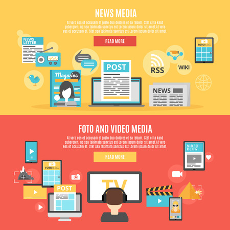 read magazine: Press and social media horizontal banners set with photo and video blogs symbols flat isolated vector illustration Illustration