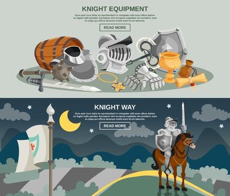 medievales: Knight banner horizontal establece con armadura medieval y arma aislados ilustraci�n vectorial