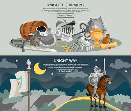 Knight horizontal banner set with medieval armor and weapon isolated vector illustration
