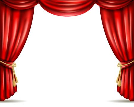 teatro: Opera frente del escenario de cine en casa icónica abierta cortinas cortina roja de terciopelo pesada bandera ilustración abstracta del vector Vectores
