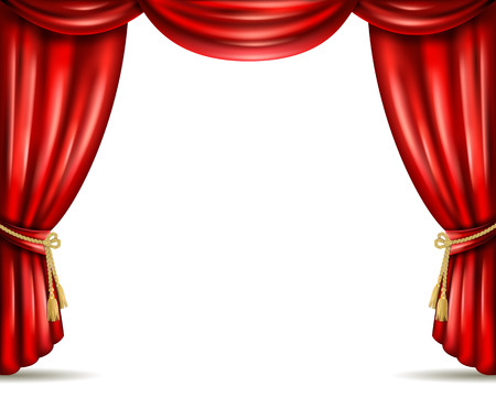 Opera house theater front stage iconic open red curtain drapery from heavy velour banner abstract vector illustration