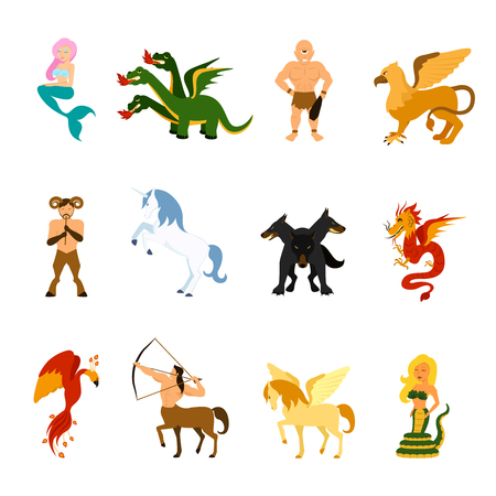 Mythical creatures and monsters from different mythologies and fairy tales flat cartoon images set isolated vector illustration
