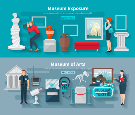 exhibition: Arts and paleontology museum horizontal banner set isolated vector illustration Illustration