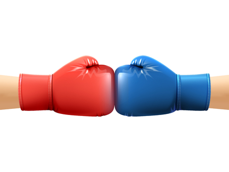 boxing sport: Two human hands in realistic boxing gloves punching vector illustration