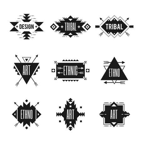 insignia: Ethnic black  set with tribal ornaments isolated vector illustration Illustration