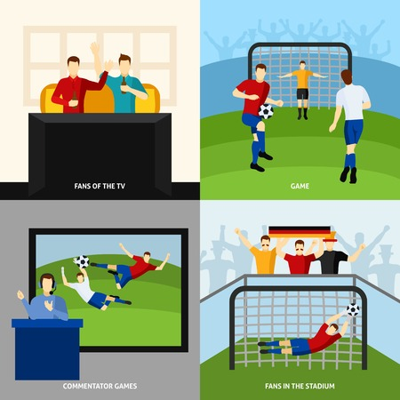 commentator: Soccer game 4 flat icons square composition with fans and tv  sport commentator abstract isolated vector illustration