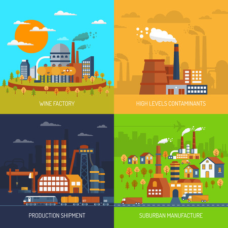Industriële fabrieken en installaties platte decoratieve pictogrammen instellen geïsoleerde vector illustratie Stock Illustratie