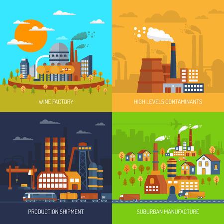 Industrie-Fabriken und Anlagen flache dekorative Icons Set isolierten Vektor-Illustration Standard-Bild - 46501624