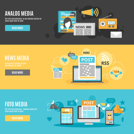 read magazine: Media and press horizontal banners set with photo analog and news media symbols flat isolated vector illustration