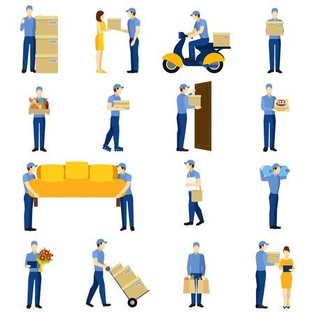 cartero: Iconos planos de entrega establecidos con las siluetas del hombre aislado ilustración vectorial Vectores