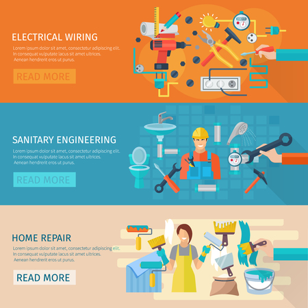 wiring: Home repair horizontal banner set with electrical wiring flat elements isolated vector illustration