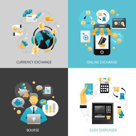 concepto de diseño de cambio de moneda establecida con la ilustración vectorial iconos planos de pago en línea aislado Ilustración de vector