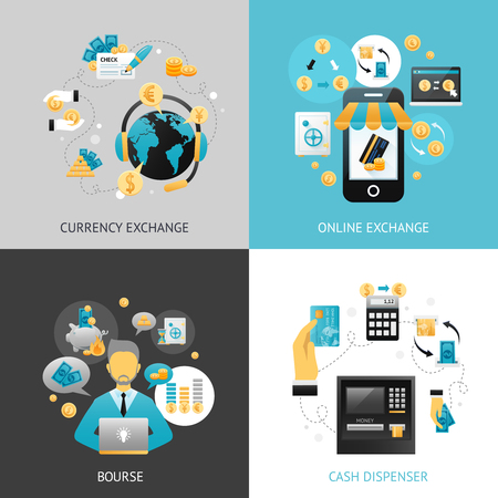 foreign currency: Currency exchange design concept set with online payment flat icons isolated vector illustration