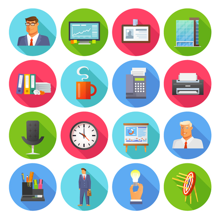 clock: Office icons flat set with report coffee cup and clock isolated vector illustration