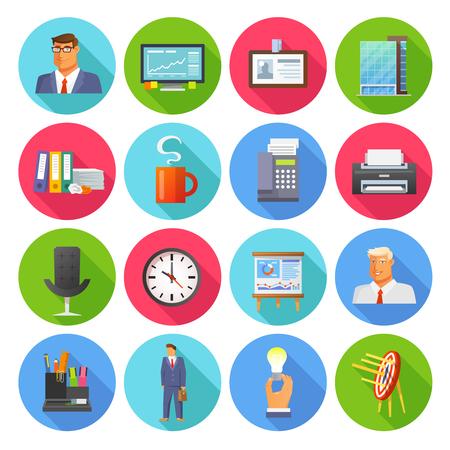 reloj: Oficina iconos conjunto plana con la taza informe café y reloj aislados ilustración vectorial