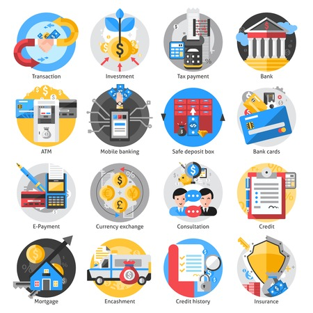 Banking icons set with transaction investment and tax payment symbols isolated vector illustration Illustration
